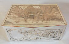 boite à bijou lithographie métal argenté chasse papillons