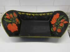 Old Tole Toleware Decorated Fruit Bowl Tray-signed on bottom