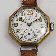 SILVANA Herren / Unisex Armbanduhr 1920er Jahre mit Emailblatt u.polygonalem Geh