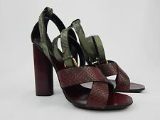 Gucci 100% Python Skin Green Cherry Ankle Strap Sandals Shoes US 9 IT 39
