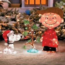 Lighted Peanuts Snoopy Charlie Brown Christmas Tree Display Outdoor Yard Decor