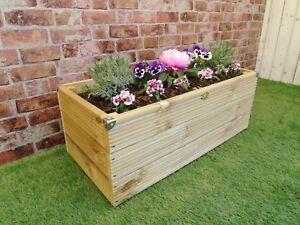 Extra Large Wooden Garden Decking Trough Planter Pot Handmade 60 80 100 cm