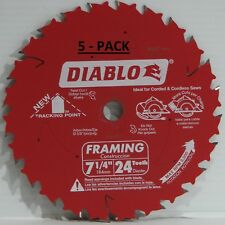 "Diablo D0724PX Freud 7-1/4"" Framing Saw Blade 5/8"" Arbor 24 Teeth Pack of 5"