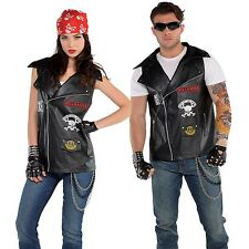 Unisex Badass Biker Vest Rocker Leather Patches Rider Anarchy Gang Fancy Dress