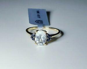 10K Yellow Gold Sky Blue Aquamarine & Blue Sapphire Ring SIZE 7/ Anillo de Oro