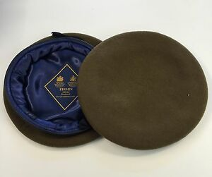 Khaki Beret, Army, Military, Leather Band & Silk Lined, Small Crown, Pure Wool