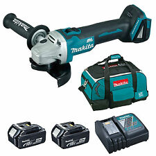 MAKITA 18V DGA454 ANGLE GRINDER 2 BL1840 BATTERIES DC18RC CHARGER & 4 PIECE BAG