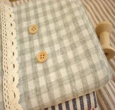Shabby Chic Cottage Gray Ivory Check Linen Fabric 50x45cm