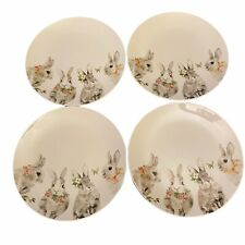 Set of 4 Discontinued Pier 1 Bunny Floral Dinner Plates Spring Easter New
