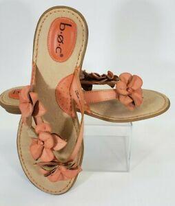 BOC Women's Leather Floral Flower Strap Flip Flop Thong Sandals Size 10 M