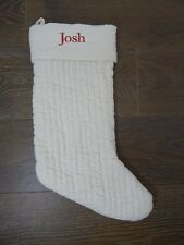 Pottery Barn Velvet Channel Quilted Stocking Christmas Holiday Ivory Josh