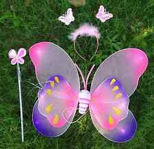 Girls Kids Butterfly Fairy Wings with wand and headpiece for girl fancy dress
