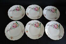 """KPM Germany 6 Luncheon Plates 8 7/8"""" -Large Pink Rose w/ Red -Scalloped Edge"""