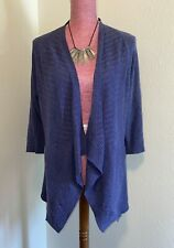 EILEEN-FISHER Size Large Petite Linen Blend Rich Blue Ribbed Open Cardigan