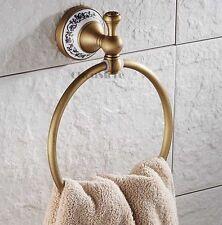Retro Bathroom Antique Brass Round Towel Ring Rack Holder Bar Ceramic Base Carve