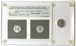 USA 1942-P War Nickel, old ANACS PR65/65 paper certificate from 1986