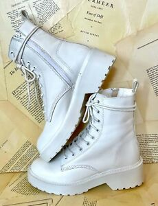 Steve Madden Bloomed Lace Up Boot Combat Platform White Leather Zipper 8.5 NEW