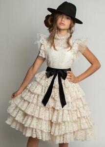 WORN 1X~JOYFOLIE~ANOUK DRESS VINTAGE IVORY & CLEA BLACK BELT~SIZE 14