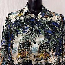 Monticerutti Aloha Woody Wagon Surf Board Hawaiian Short Sleeve Shirt XL Rayon