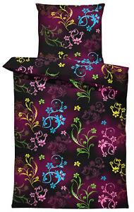4 teilig Blumen Bettwäsche 135x200 cm Blümchen modern bunt schwarz Mikrofaser
