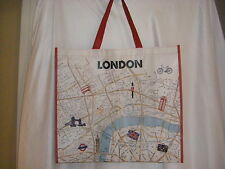 NWT LONDON BRITISH FLAG REUSEABLE SHOPPING TOTE BAG 2 RED CANVAS HANDLES