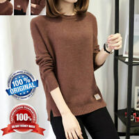 Womens Knitted Long Sleeve Pullover Sweater Shirt US Ladies Blouse Jumper Tops