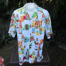 Authentic HAWAIIAN SHIRT pit to pit 27 HILO HATTIE exotic beer bottles labels