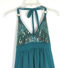 Victoria's Secret Teal Green-Blue Bra Top Sequin Halter Dress Sz XS Summer Beach