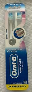 Oral-B Extra Soft Gum Care Compact Toothbrush Healthier Gums in 2 Weeks 2 Pack