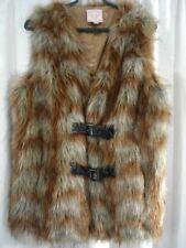 ROMEO AND JULIET COUTURE Faux Fur Vest Adult Sz Large Buckles Gray Brown Copper