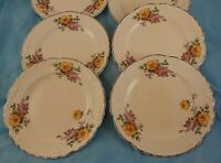 Set of 4 Saucers Taylor Smith Taylor Pink Yellow Roses Dinnerware China