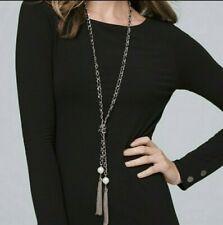 "White House Black Market Tassel Necklace 34"" Ribbon Woven Silver Tone Chain"