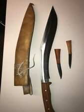 20''  full tang Gurkha Kukri knife. Complete with custom case and small knifes