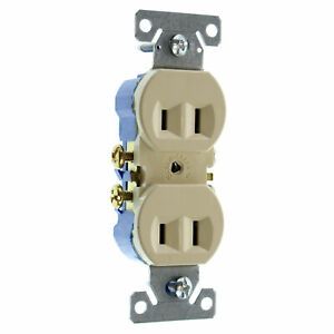 EATON COOPER 736V-SP-L RECETPACLE OUTLET, NON-GROUNDING, 2-WIRE, 15A 120V, IVORY