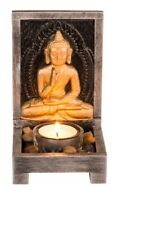 Wooden Buddha Tealight Holder with Decorative Stones Ornament Figure