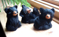 BEAR CUBS REALISTIC minature FURRY ANIMAL REPLICA Toys 3pcset FREE SHIPPING USA