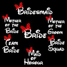 DISNEY STYLE WEDDING BRIDE HEN NIGHT DIY IRON ON T-SHIRT TRANSFERS