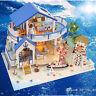 DIY Wooden Cottage Dollhouse Miniature Kit Dolls House W/ Furniture LED Light
