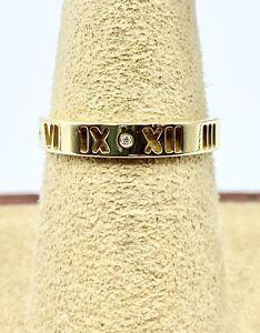 Tiffany & Co. 18k Yellow Gold Pierced Atlas Diamond Ring Size 7