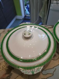 """Alfred Meaking Serving Dishes Retro Green Gold Edge 9.5"""" x 3"""""""