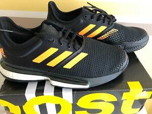 New Adidas Men SoleCourt Boost Tennis Shoes Black Orange Sz 7.5