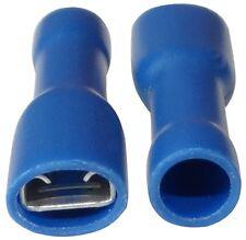 100x Cosses électriques femelles plates 4.8mm 0.8mm 1.5-2.5mm2 isolée bleue