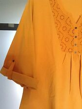 Tunika Shirt Gold Gelb L XL XXL Baumwolle lang oder 3/4 Arm Bluse neu 016