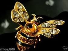 SIGNED SWAROVSKI  CRYSTAL BEE PIN ~ BROOCH 22 KT GOLD PLATING  RETIRED NEW