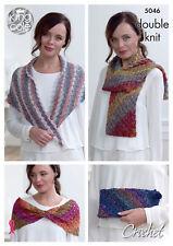 King Cole Ladies Corner to Corner DK Crochet Pattern Bag Scarf Cowl & Shawl 5046