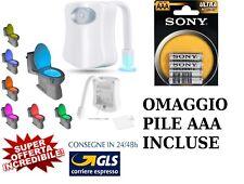 Luce led  8 colori water  WC tazza bagno sensore movimento COMPLETA DI PILE AAA