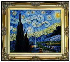 Framed, Van Gogh Starry Night Reproduction, Hand Painted Oil Painting 20x24in