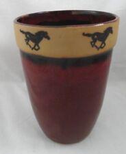 "8 3/4"" Tall Equestrian Horses around Rim Glazed Vase/ Crock Always Azvl Pottery"
