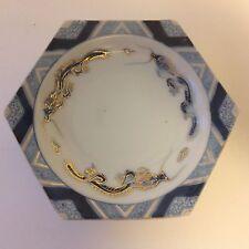 Vintage Dragon Plate Japan Porcelain Six Sided Decor Display * Gold Blue White