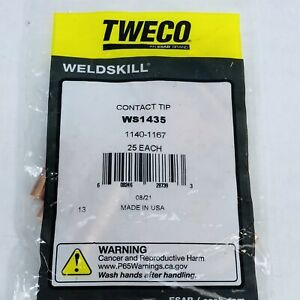 LOT OF 25 TWECO #WS1435  CONTACT TIP 1140-1167